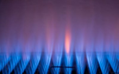 Gas flames on a gas heater