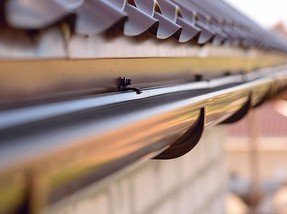 Rainwater guttering on roof