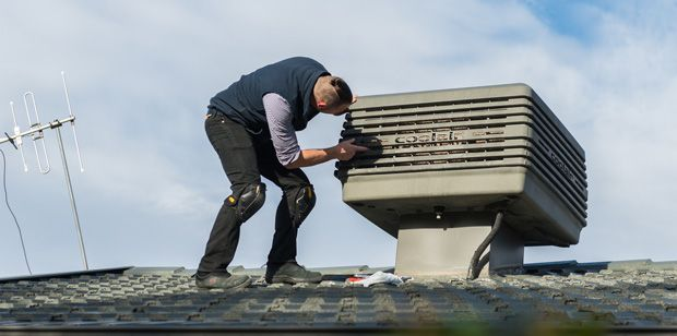 Installing an evaporative cooling system on the roof